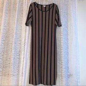LuLaRoe Julia Black and Tan Vertical Stripe Dress